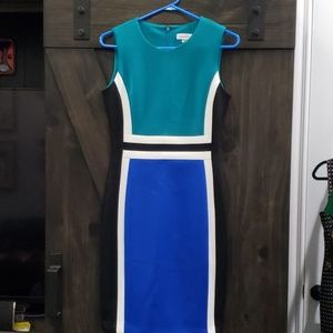 NWOT Calvin Klein Bodycon colorblocked dress